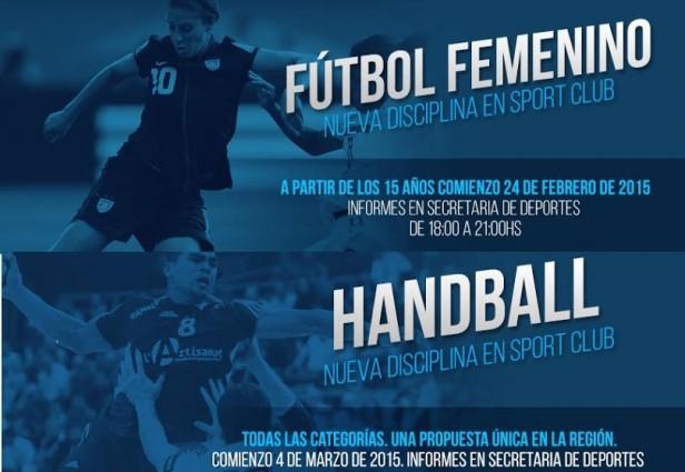 Fútbol Femenino, Handball y Yoga son las nuevas propuestas de Sport