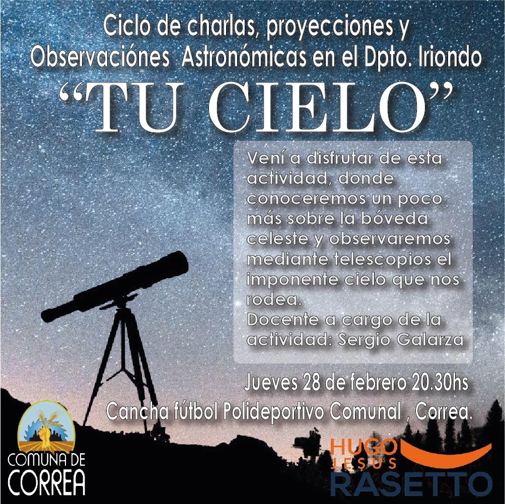 Charla y Observación astronómica en Correa
