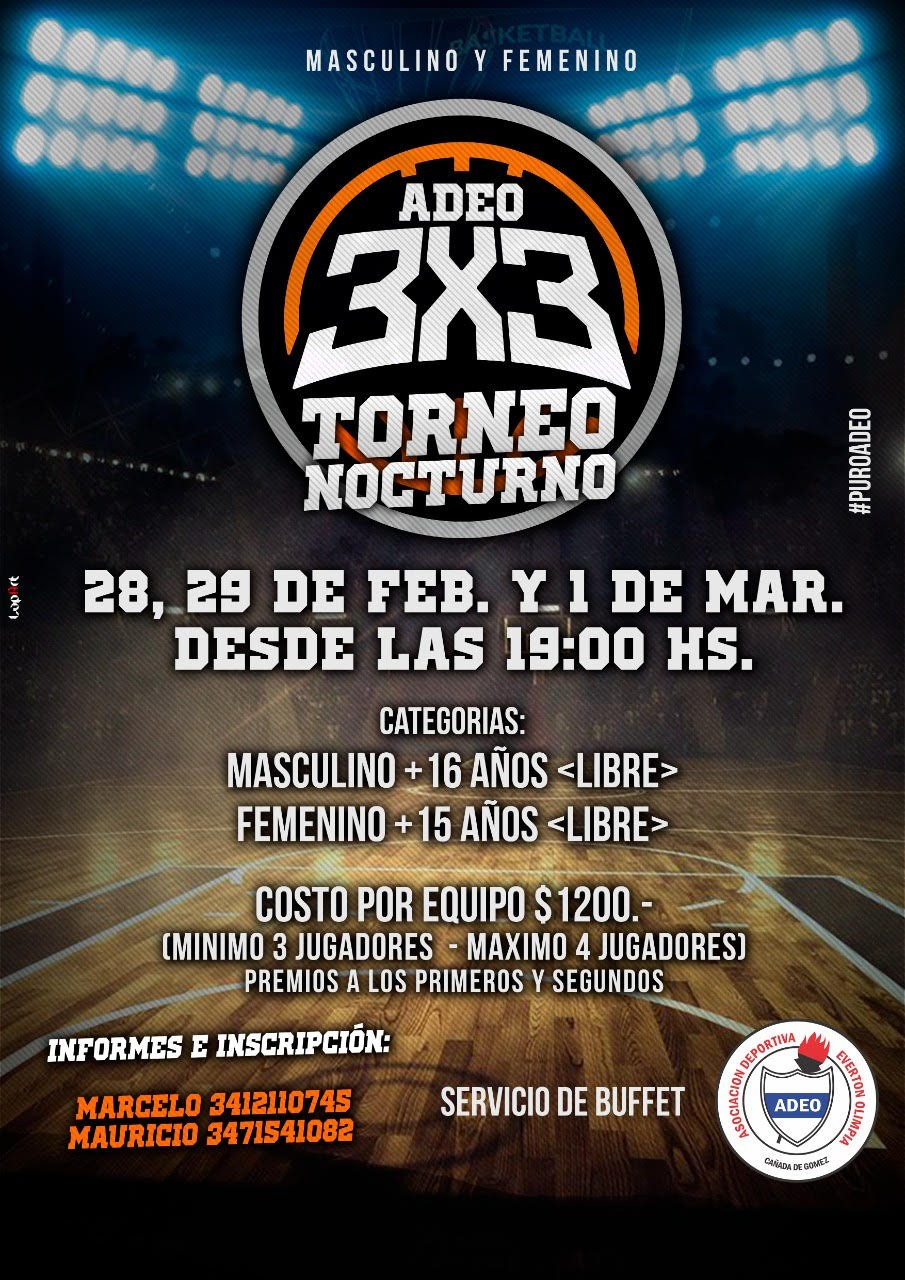 Torneo de Basquet 3x3 nocturno en ADEO