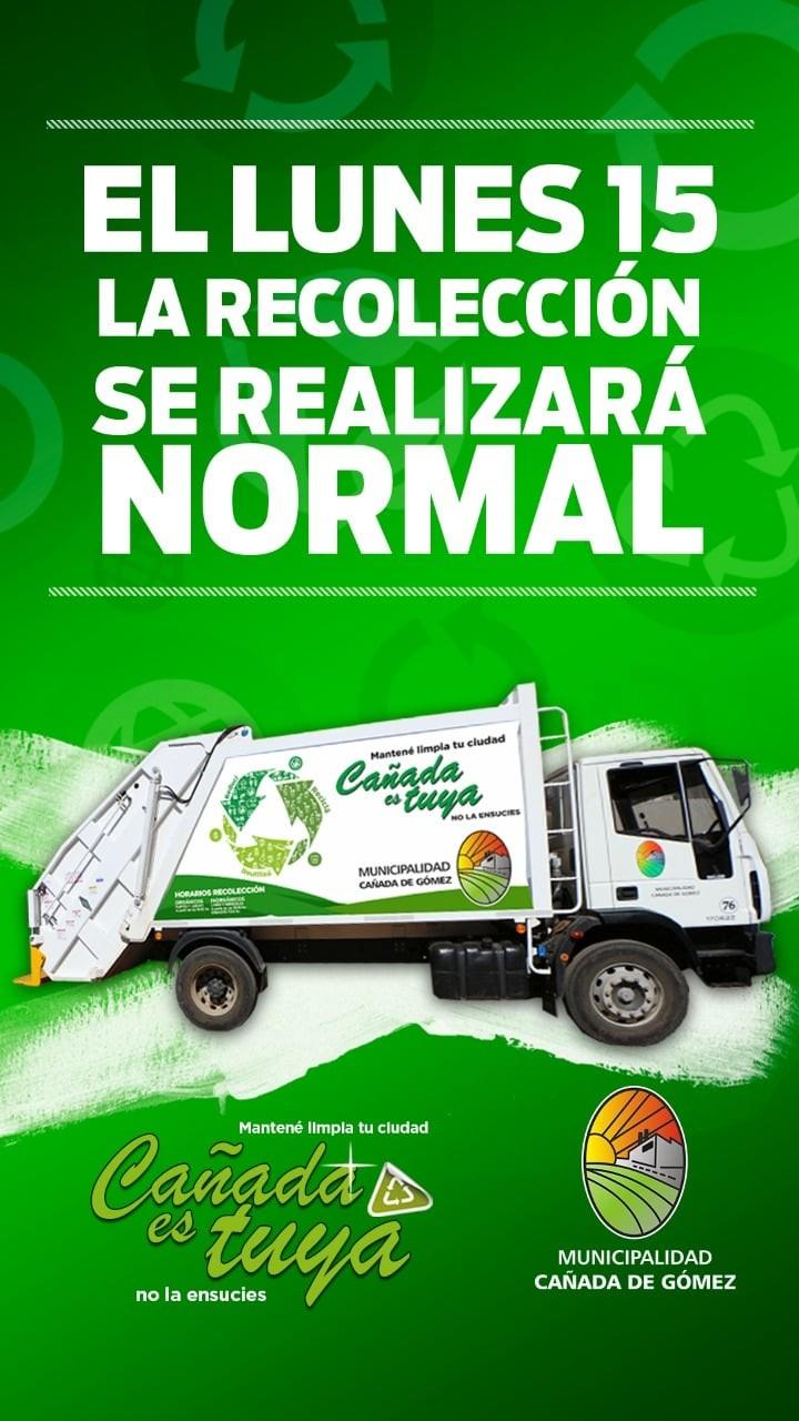 El Lunes 15 la recolección de residuos será normal