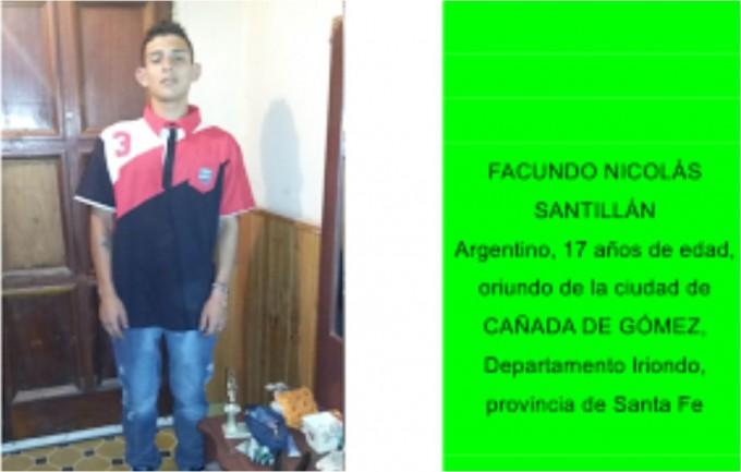 Solicitan el paradero de Facundo Santillán