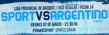 Liga Provincial de Básquet Sport quiere cerrar invicto