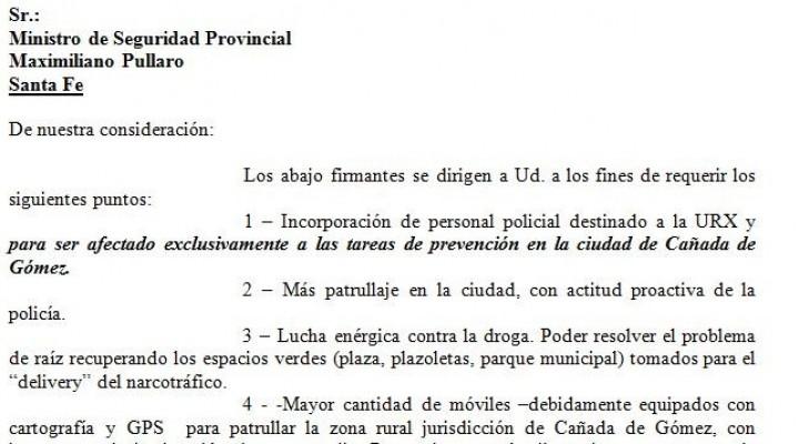 Diaz Patrón junta firmas para pedido de seguridad a Pullaro y Rasetto