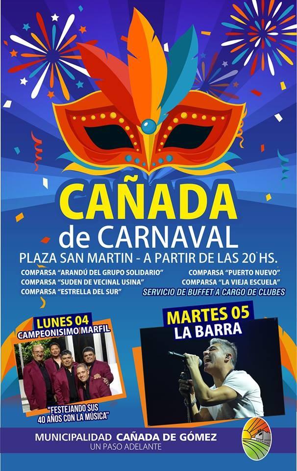 Lunes y Martes el Carnaval se vive en Cañada