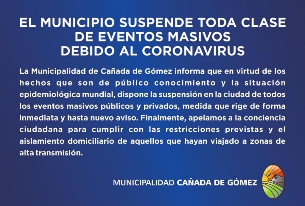 El Municipio suspende todas las actividades masivas