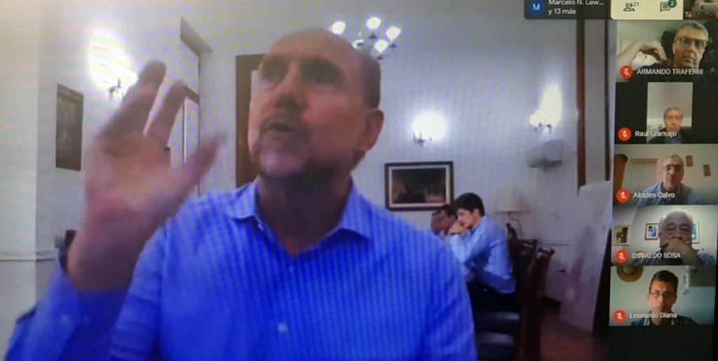 Rasetto y los Senadores en videoconferencia con Perotti