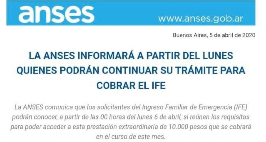 DESDE LA MEDIANOCHE SE CONOCERÁ QUIÉNES ACCEDEN AL INGRESO FAMILIAR DE EMERGENCIA
