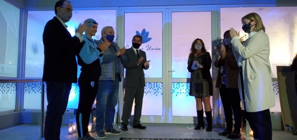Rasetto y Lanatti en la inauguración de las obras del Unión Fútbol Club