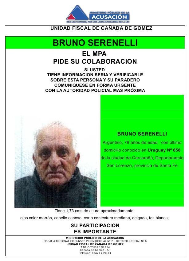 Se solicita paradero de Bruno Serenelli