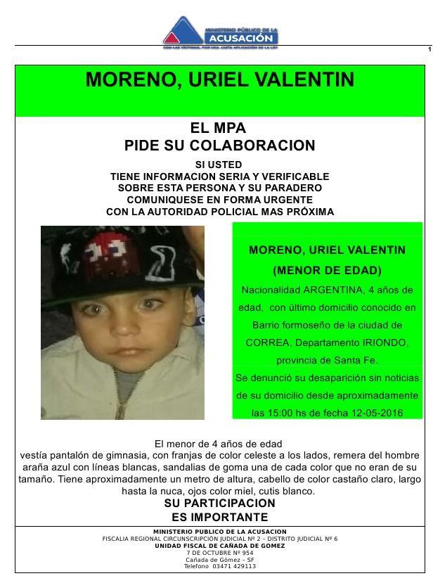 Continúa la búsqueda de Uriel Moreno