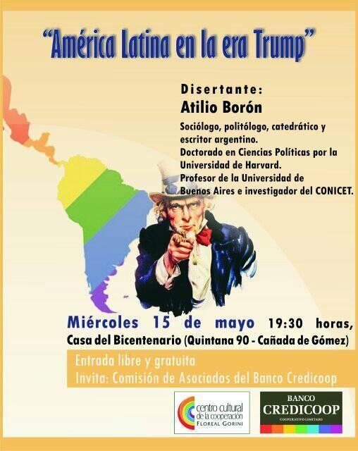Atilio Borón disertará en Cañada