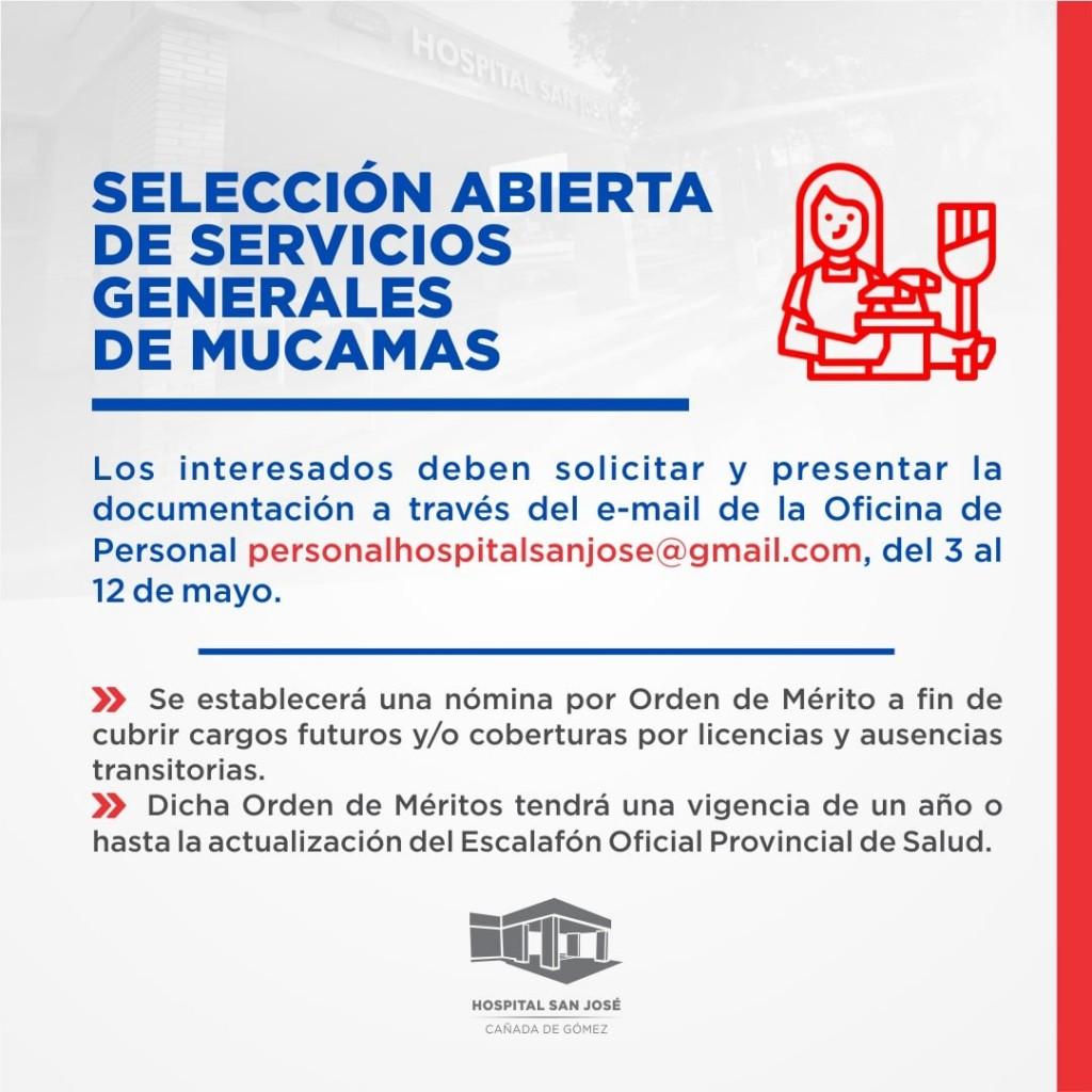 Inscripción para cubrir servicios de mucama