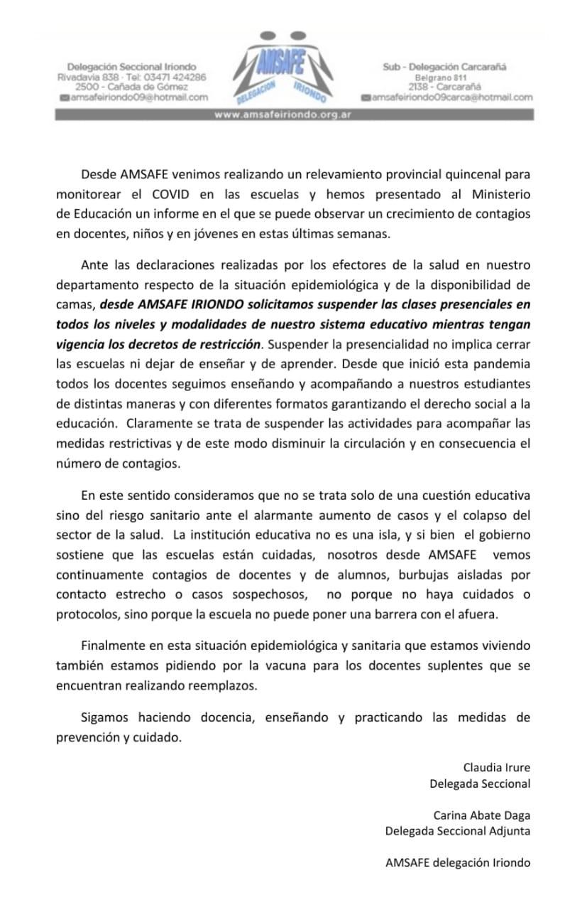 AMSAFE Iriondo pide la suspensión de las clases presenciales