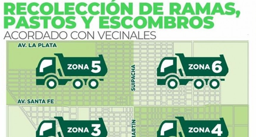 El Municipio suma un día a cada zona en el cronograma de recolección de ramas y escombros