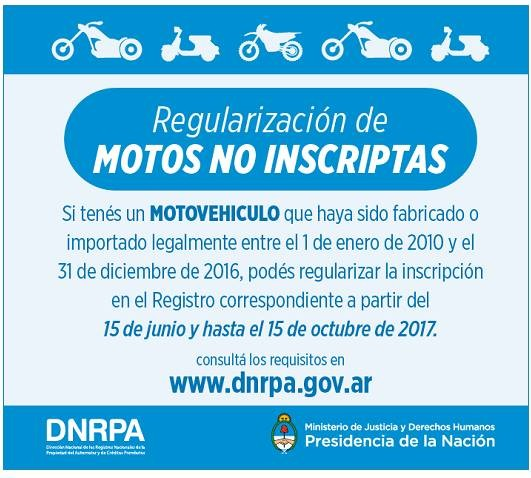 Sigue vigente el régimen de regularización de motos