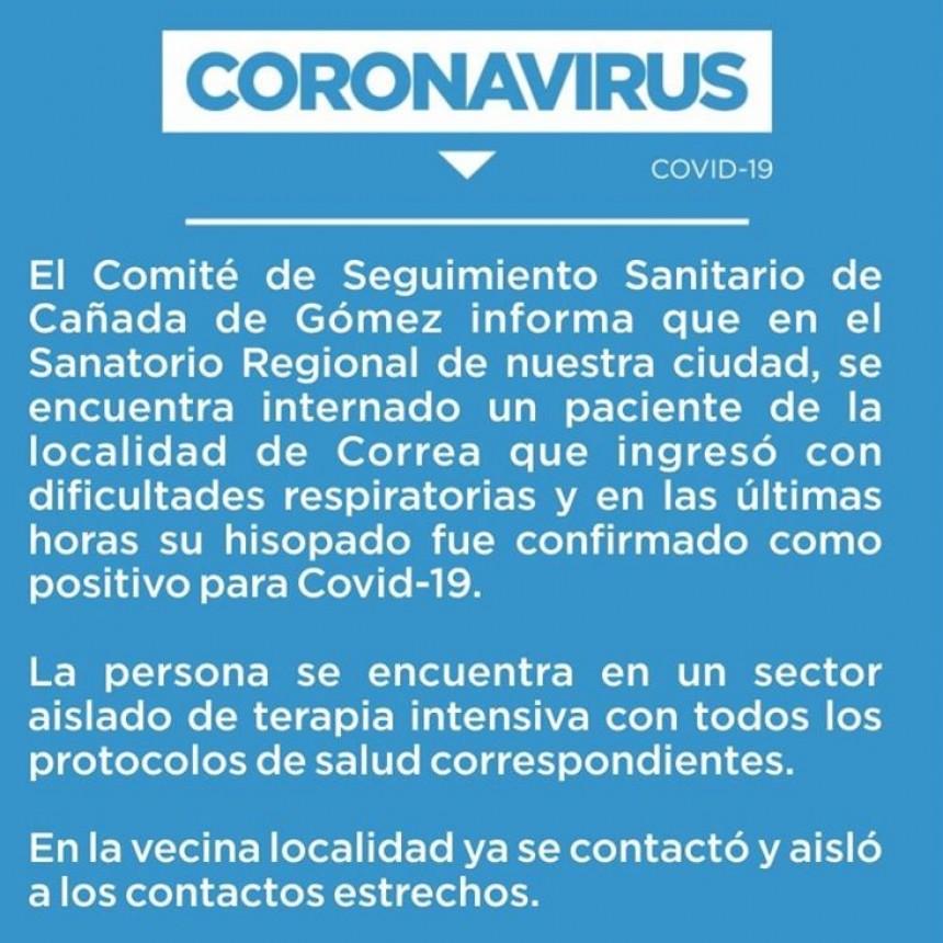 CONFIRMARON UN CASO DE CORONAVIRUS EN CORREA