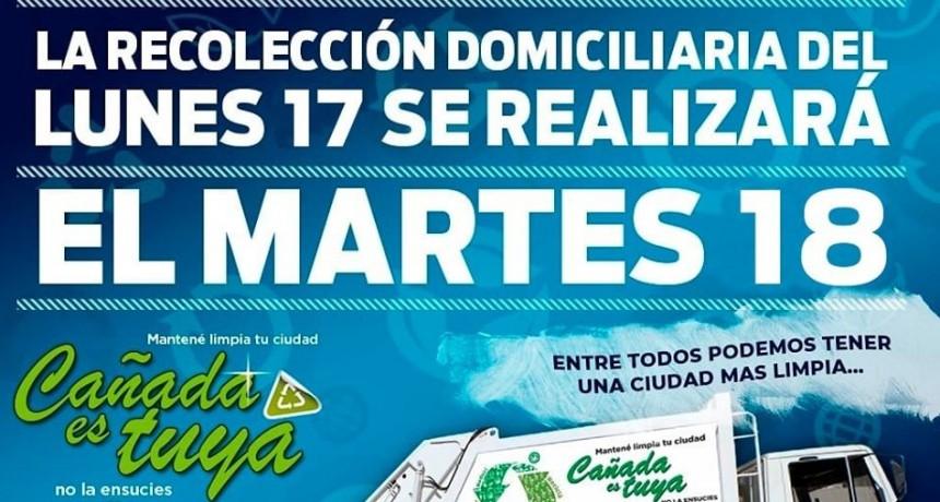 LA RECOLECCIÓN DE RESIDUOS DEL LUNES 17, PASA PARA EL MARTES 18