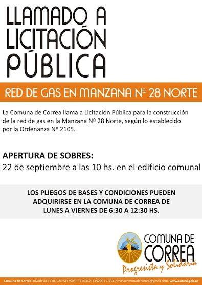 Correa: La Comuna llama a licitación para construcción red de gas
