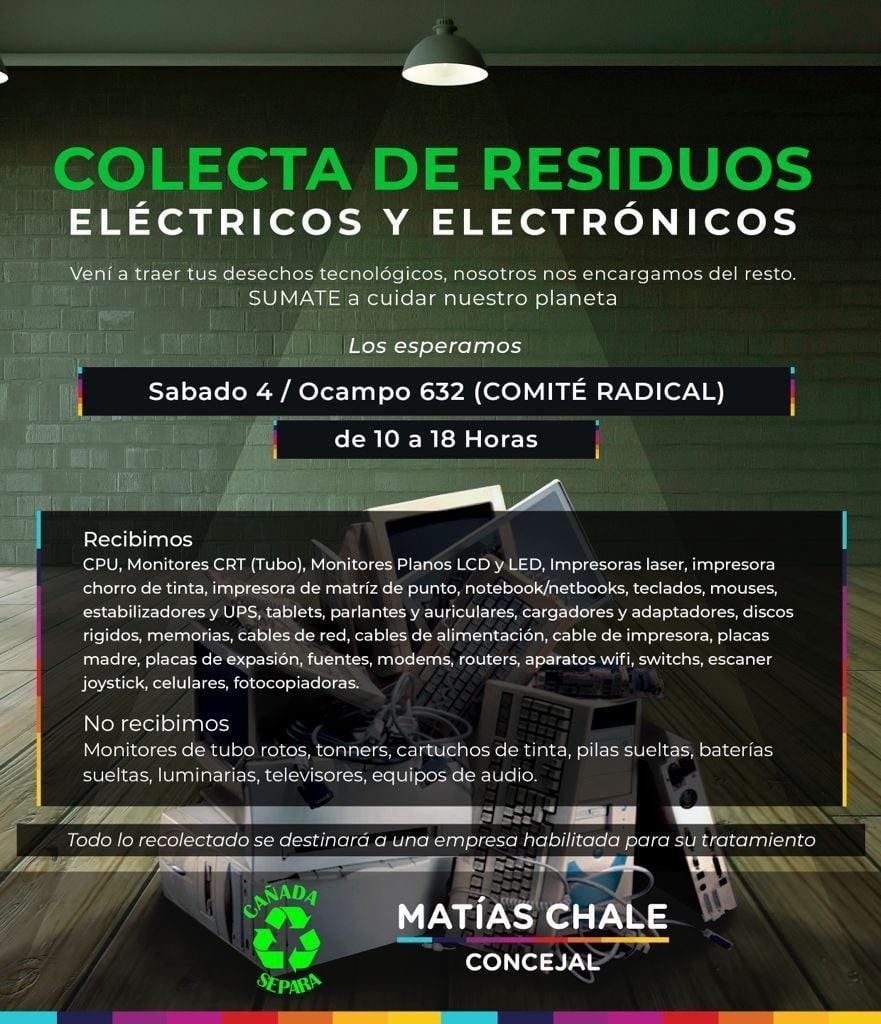 Campaña de recolección de residuos electrónicos y eléctricos