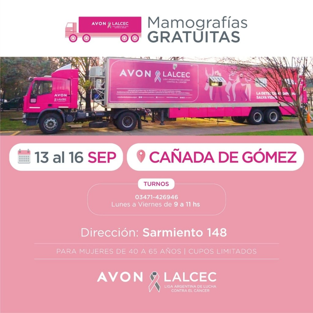 Mamógrafo Móvil en Cañada de Gómez