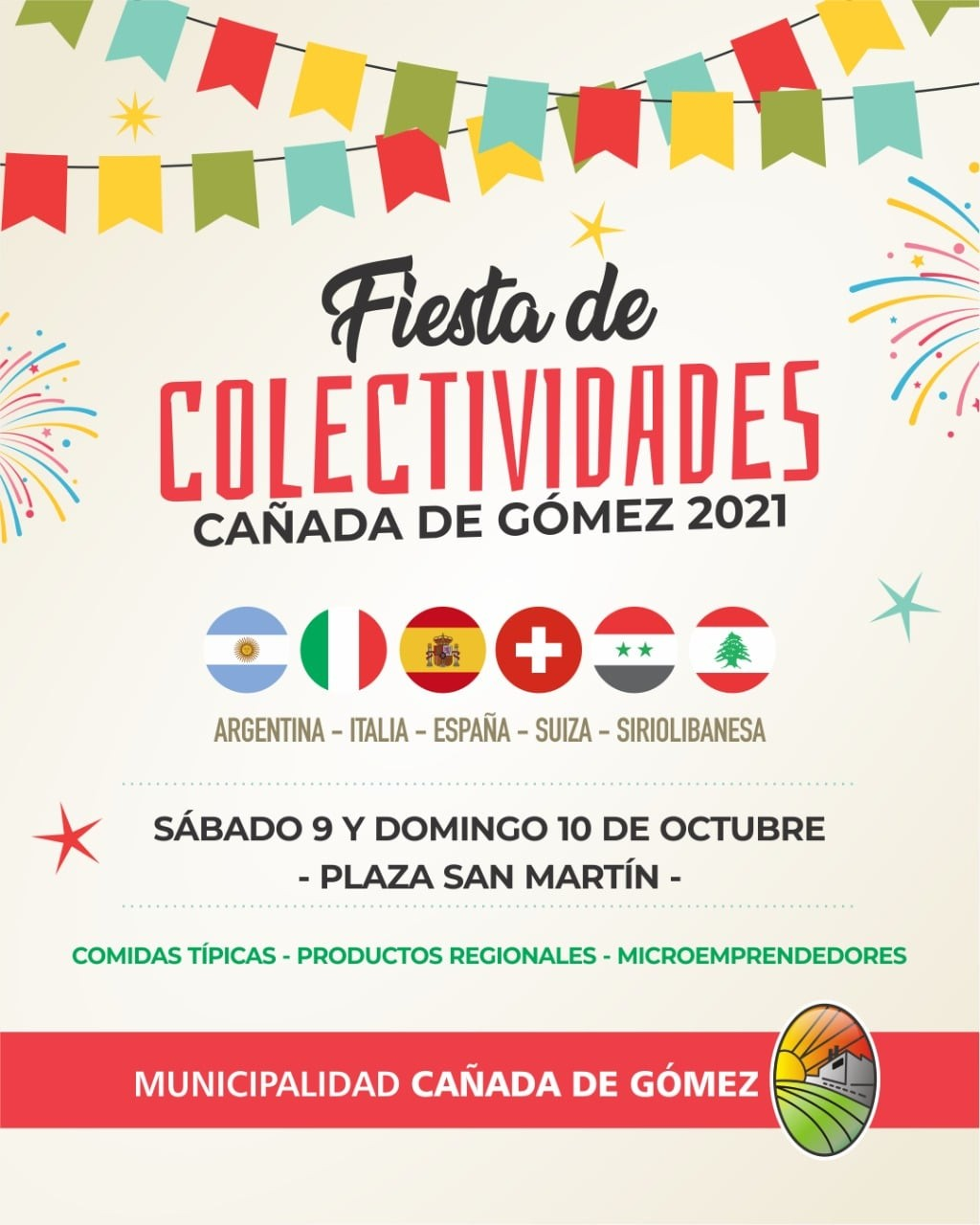 Colectividades en plaza San Martín
