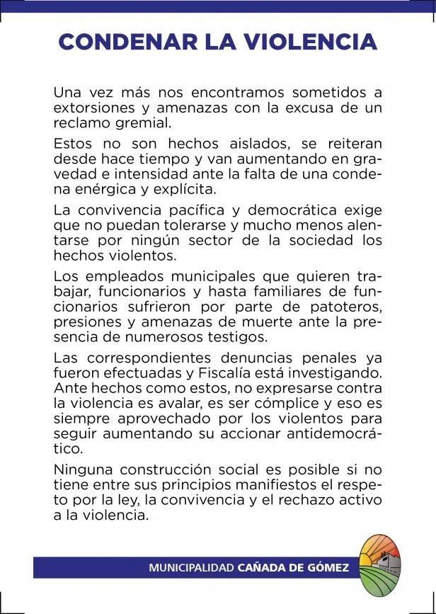 Repudio del Municipio ante amenazas y hechos de violencia