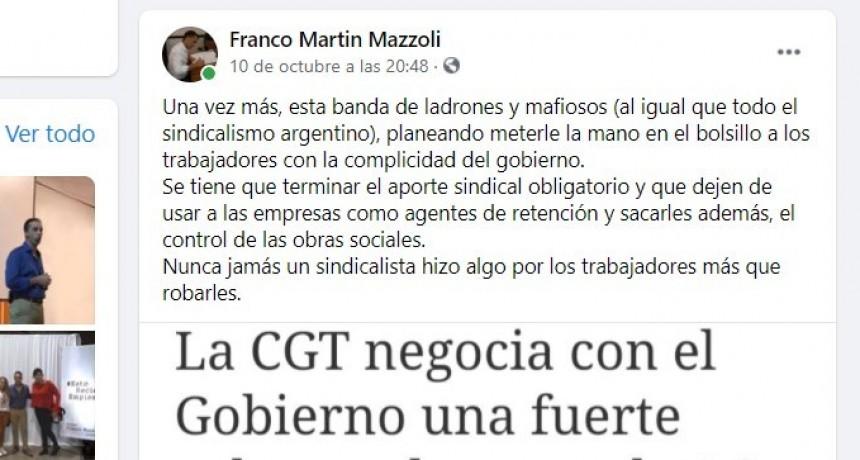 El secretario general del Sindicato de Luz y Fuerza pide que se tomen las medidas ante los agravios emanados por el concejal Franco Mazzoli
