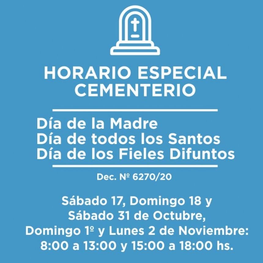 Nuevos horarios para el Cementerio