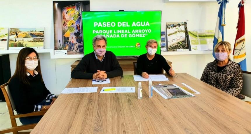 Clérici y Casalegno presentaron proyecto Paseo del Agua - Parque lineal arroyo Cañada de Gómez