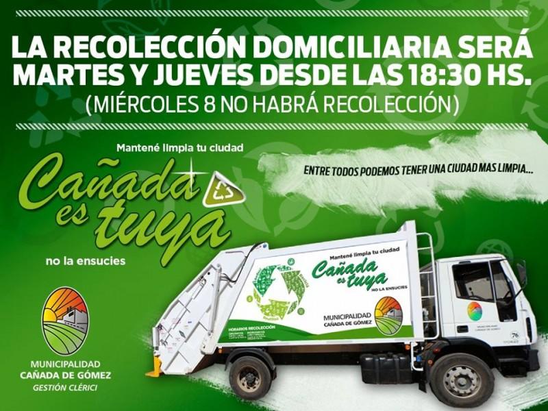 Recolección de residuos no se realizará el miércoles
