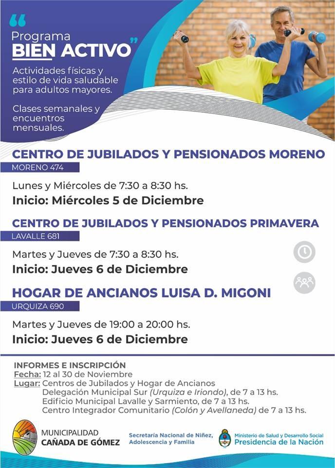 El Municipio impulsa el programa Bien Activo para adultos mayores