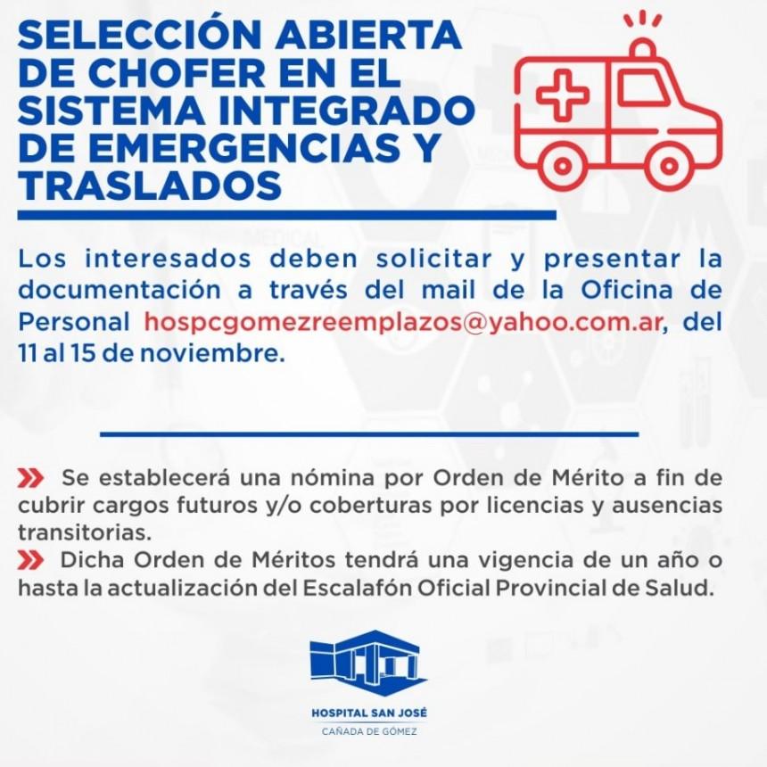 El Hospital San Jose convoca a selección abierta de chofer en el sistema de emergencias y traslados