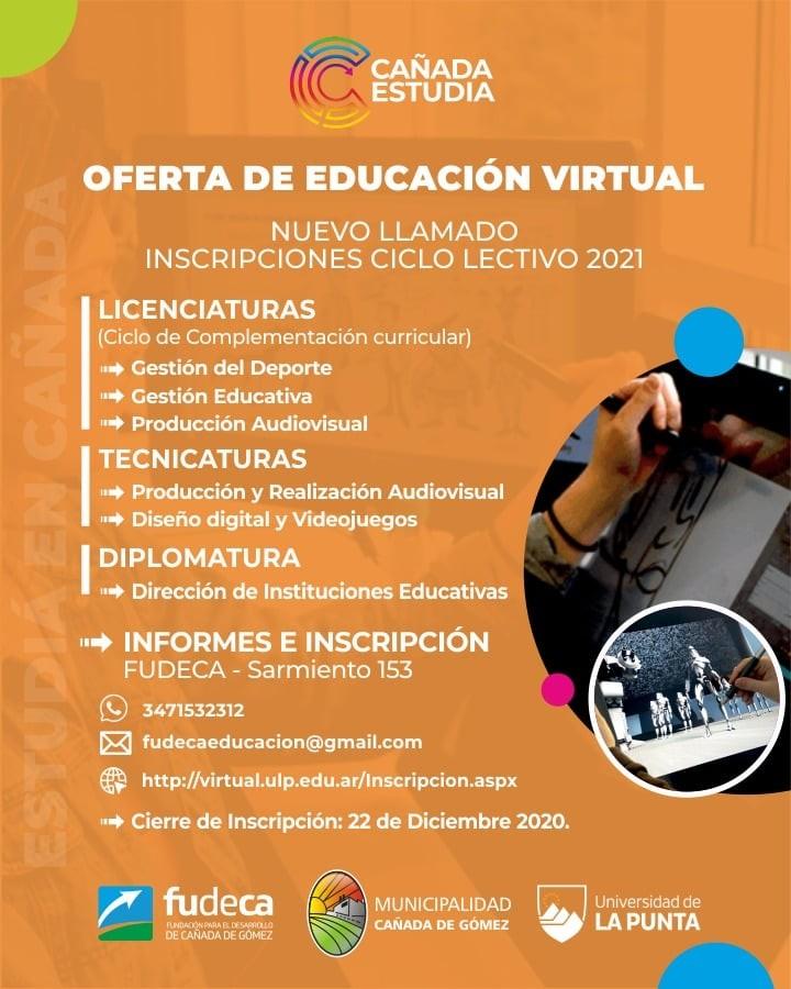 ABREN NUEVA INSCRIPCIÓN A PROPUESTAS DE EDUCACIÓN VIRTUAL PARA EL CICLO 2021
